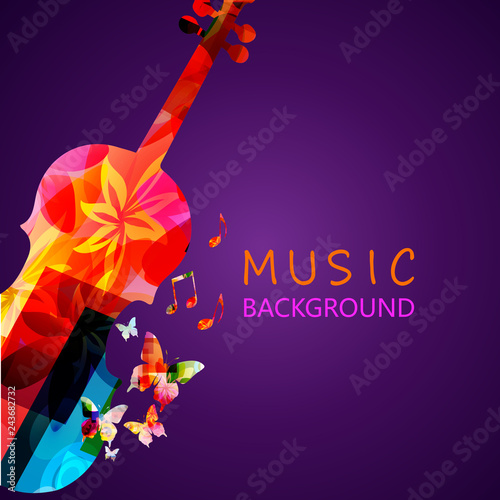 Colorful violoncello with music notes vector illustration design. Music background. Music instrument poster with music notes, festival poster, live concert events, party flyer © abstract