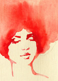 beautiful woman. fashion illustration. watercolor painting - 243683903