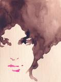 beautiful woman. fashion illustration. watercolor painting - 243683954