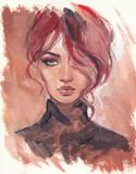 beautiful woman. fashion illustration. watercolor painting - 243684350