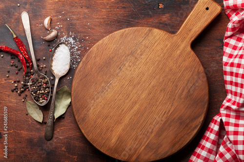 Various spices, herbs and cooking utensils