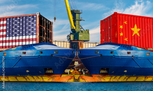 Two merchant ships facing each other in the port.Concept of commercial war between the USA and China.3d illustration