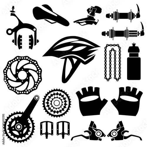 Bicycles Set Of Bicycle Parts Isolated Vector Image Buy Photos