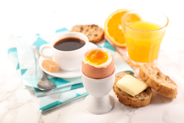 breakfast with egg,coffee and fruit