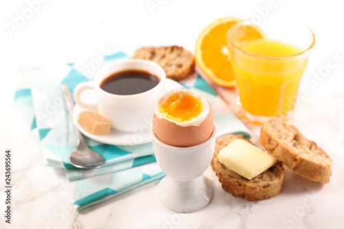 breakfast with egg,coffee and fruit - 243695564