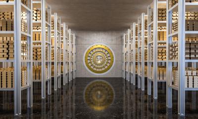 golden ingot in bank vault © tiero