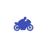 Rider on sport motorcycle icon on white