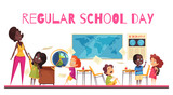 School Class Cartoon Illustration - 243700160