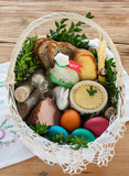 Traditional Easter basket with food - 243701794
