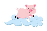 pig with clouds - 243703339