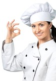 Female Chef Showing OK Sign - 243704902