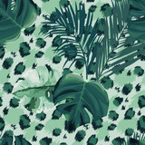 Tropical seamless pattern. Leopard print. Animal background. Vector illustration - 243704936