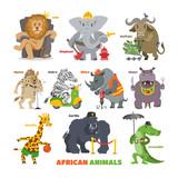 African animals vector cartoon wild animalistic characters lion king elephant fireman security gorilla in safari illustration set of crocodile zebra hippo isolated on white background