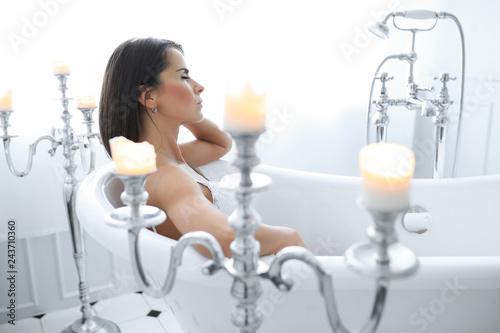 Leinwanddruck Bild Woman in white lingerie