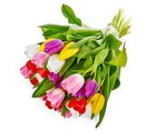 Spring tulips flowers bouquet, romantic greeting gift - 243718121