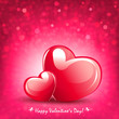 Composition of pink color with two elegant hearts and a multitude of glitter,