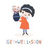 Hand drawn vector of kawaii cartoon girl angel fairy holding flower vase. Cute get well soon smiling girl illustration for  health convalescence card, feel better concept and wellness prayer clipart. - 243722143