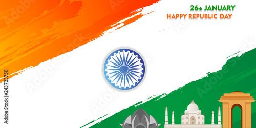 indian republic day 26 january 1950, brush design india flag