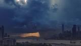 Victoria harbor of Hong Kong Island with sunny stormy sky, China - 243729374