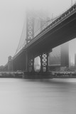 Black an white photo of Manhattan Bridge from east river on a foggy day with long exposure - 243732152