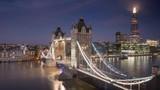 time lapse London skyline with illuminated Tower bridge in sunrise time, UK - 243732752