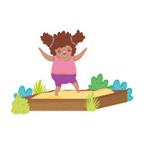 Little chubby girl playing in sand box - 243738134