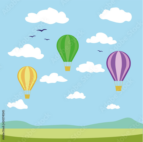 Simple drawing of balloons in the sky.