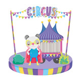 cute circus cat with layer and tent