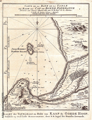 1773, Bellin Map of the Cape of Good Hope, Capetown, South Africa ...
