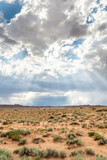 Scenic ladnscape with god-rays after a storm in Utah