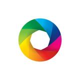 Colorful camera lens shutter aperture illustration - 243753374