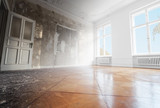 home renovation, empty room before and after refurbishment  - 243758160