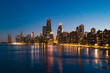 Chicago Skyline at Night from North Avenue Beach