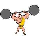 Strongman lifting Weights - A vector cartoon illustration of a strongman lifting weights. - 243762593