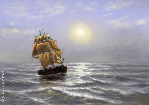 Digital oil paintings sea landscape, ship. Fine art.