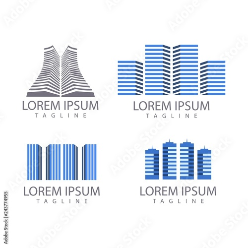 set of real estate and building logo design vector