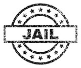 JAIL stamp seal watermark with distress style. Designed with rectangle, circles and stars. Black vector rubber print of JAIL tag with unclean texture. - 243777937