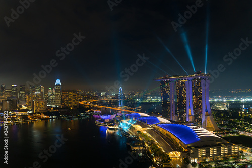 Singapore Marina bay at night, Singapore city with light show is famous and beautiful show. - 243784522