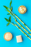 Asian spa background. Spa treatment concept. Bamboo branch, spa cosmetics on blue background top view