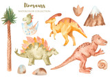 Watercolor dinosaurs prehistoric period. Illustration with palm trees, mountains, shells for kindergarten, wallpaper, cards, invitations, childish design.
