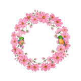 Fototapeta Kosmos - Cosmos,Birds,Wedding Watercolor Wreath, Bouquets,Frame Floral,Flowers arrangement decorate,Hand painted,isolated on white background, floral invitations, greeting card, DIY. © stephinlo