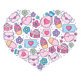 heart with valentines day icons - 243788900