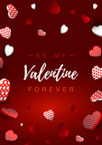 Valentines Day vertical greeting card. Valentines day design for banners, flyers, newsletters, postcards. Space for text. Vector illustration. Be my Valentine - 243802136