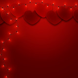 Valentine's day romantic love background template with hearts, vector illustration - 243805191