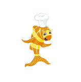 Illustration. Cheerful orange fish-turn into a yellow strip. With big eyes and a cook's cap.