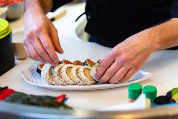 Chef making sushi in the bar © creativefamily