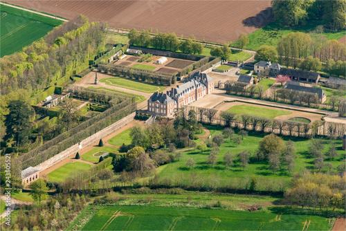 Poster vue aérienne du château de Vaudroc en Seine Maritime en France
