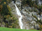 Sulzbachfall waterfall in the Klontal valley and next to Lake Klontalersee - Canton of Glarus, Switzerland