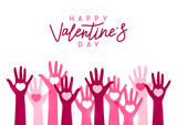 Valentines day greeting card with hands silhouettes - 243807534