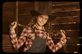 beautiful  girl in  cowboy hat. - 243813311